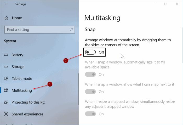 ativar ou desativar aero shake no Windows 10