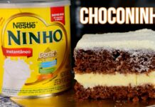 BOLO DE CHOCOLATE COM RECHEIO DE NINHO CREMOSO