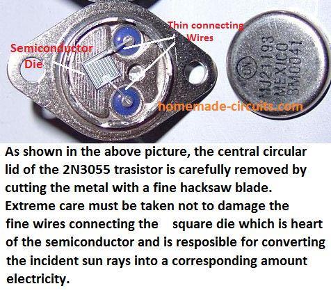 como fazer uma celula solar a partir de um transistor
