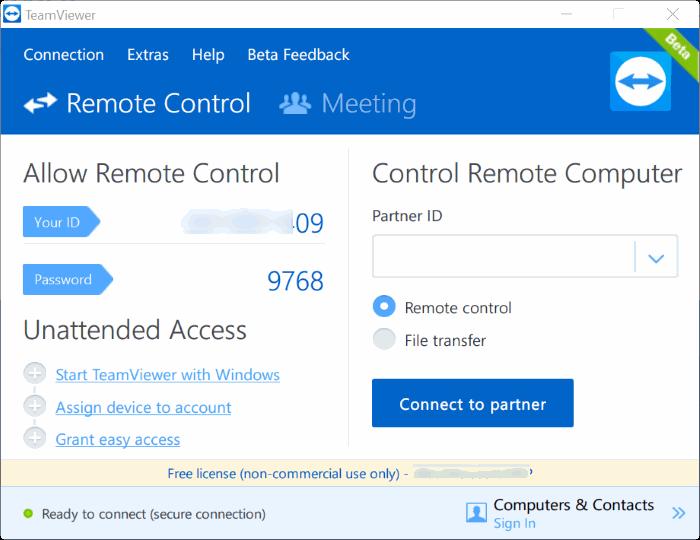 TeamViewer 12 para Windows 10 pic1