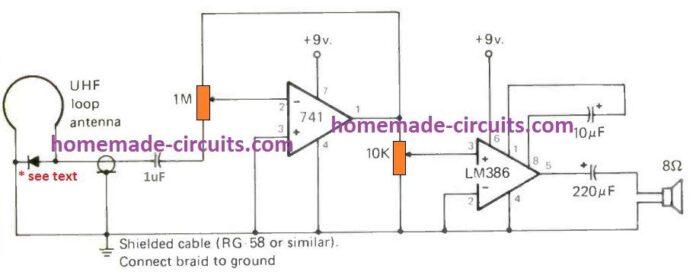 ouca bandas uhf e shf ghz com este circuito simples