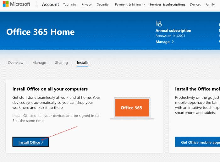 Baixar pic1 do instalador offline completo do Office 365