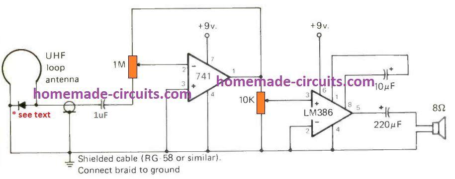 Circuito receptor UHF SHF Ghz simples